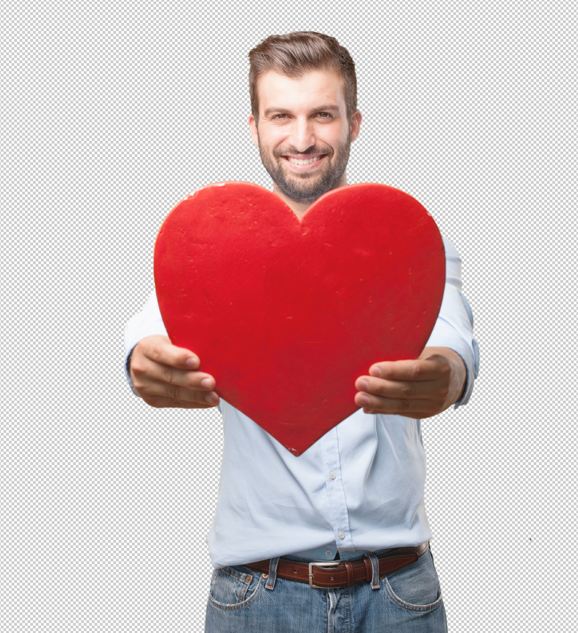 Handsome young man holding heart