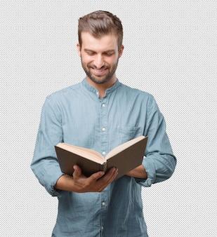 잘 생긴 젊은 남자 책을 읽고