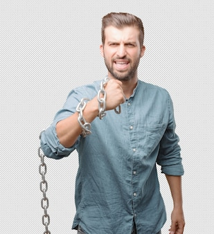 Handsome young man with chain