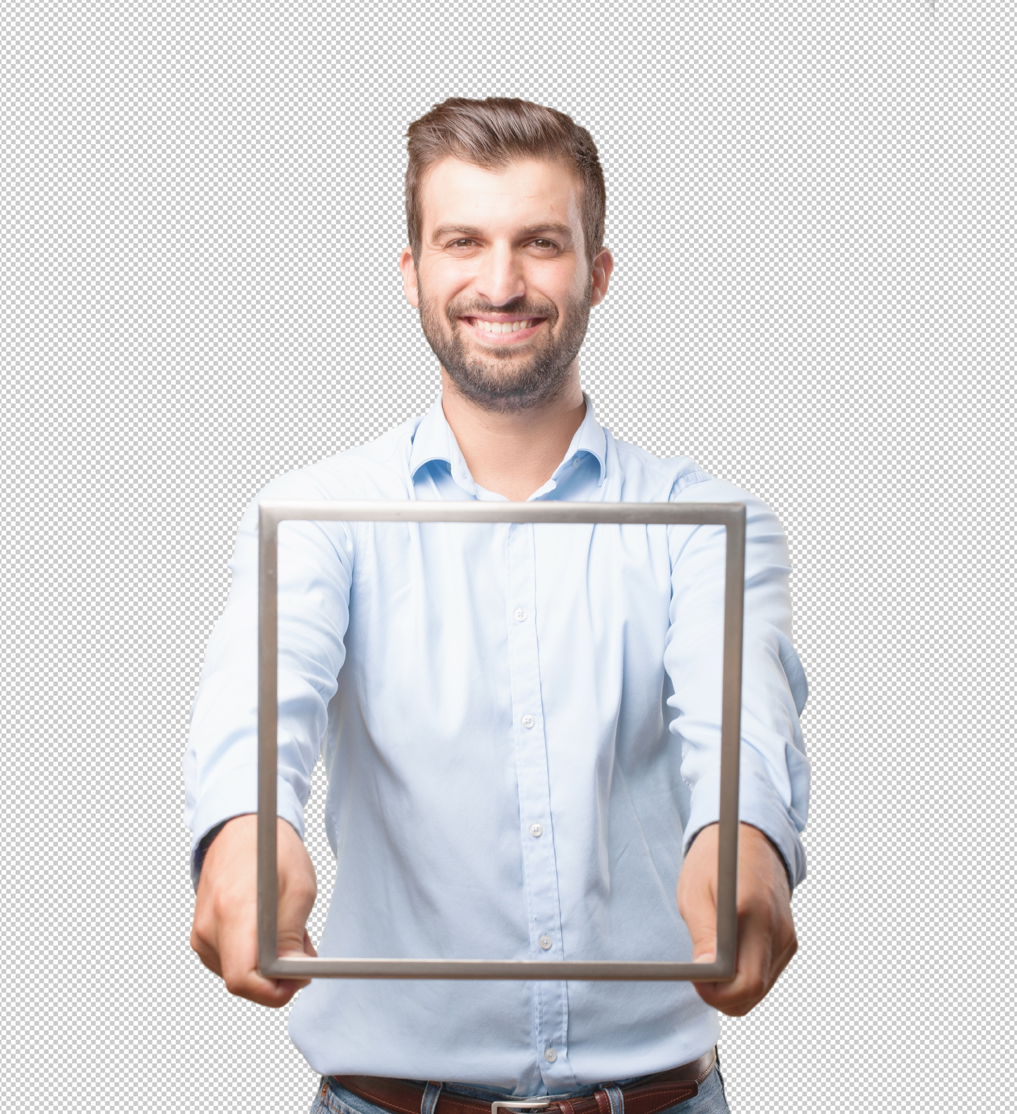 Handsome young man with frame