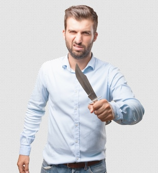 Handsome young man with knife
