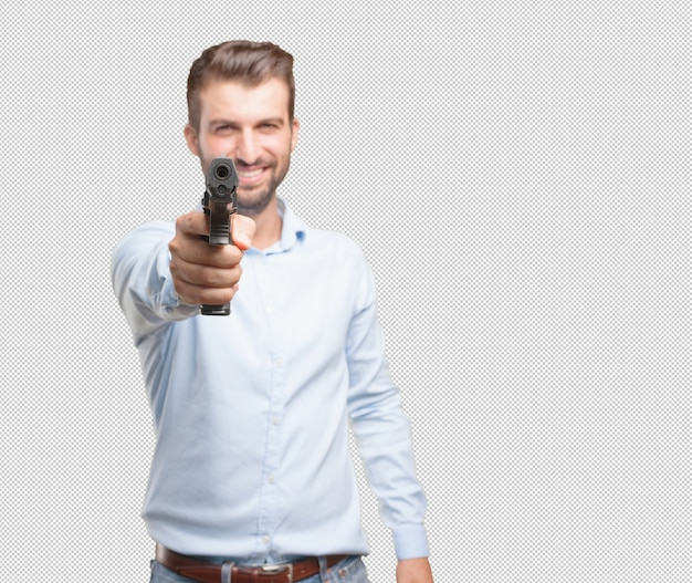 Handsome young man with pistol
