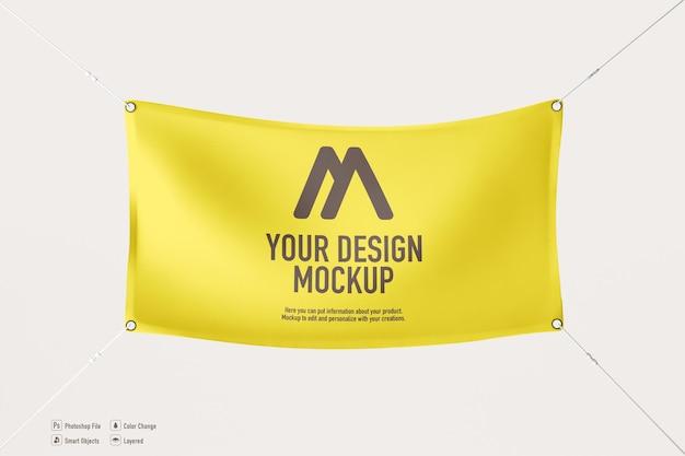 Hanging banner mockup on soft color