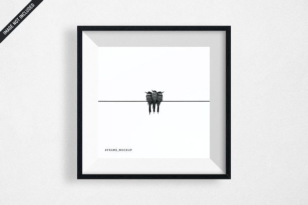 Hanging black square frame mockup isolated