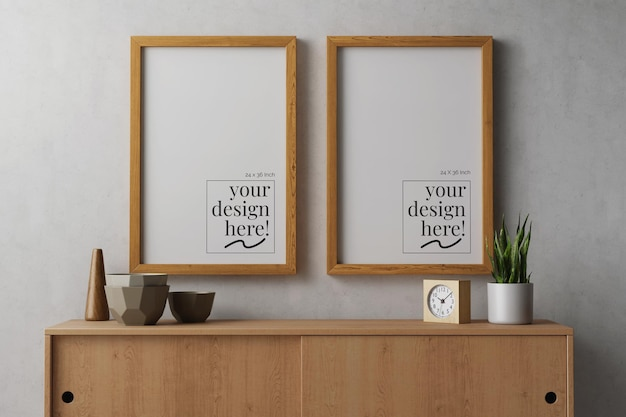 Hanging canvas paper poster artwork in wooden frame mockup