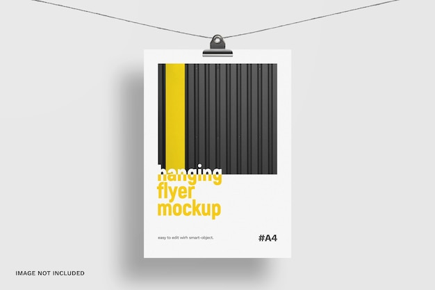 Hanging flyer mockup isolated