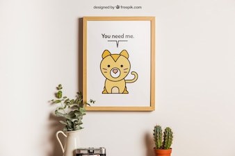 Hanging frame with cute animal decoration