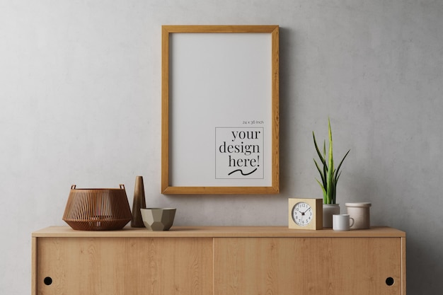 Hanging poster artwork in wood frame with big canvas paper mockup