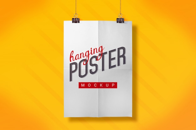 Hanging poster mock up