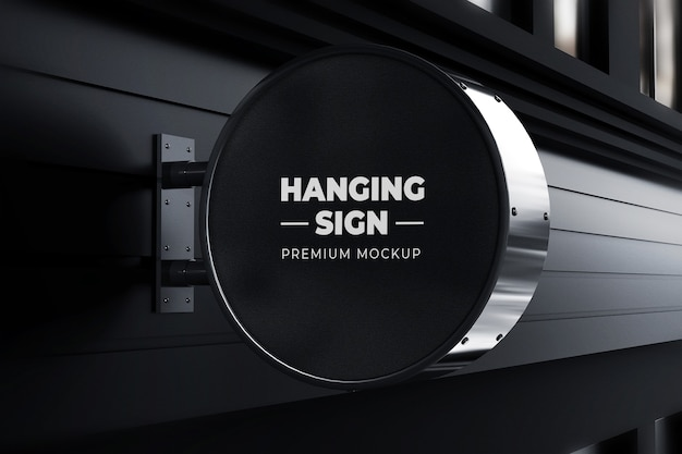 Hanging sign mockup outdoor circle neonbox black