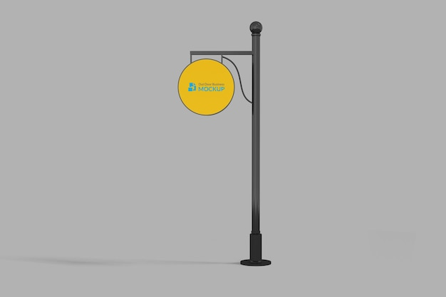 Hanging sign mockup outdoor circle neonbox yellow