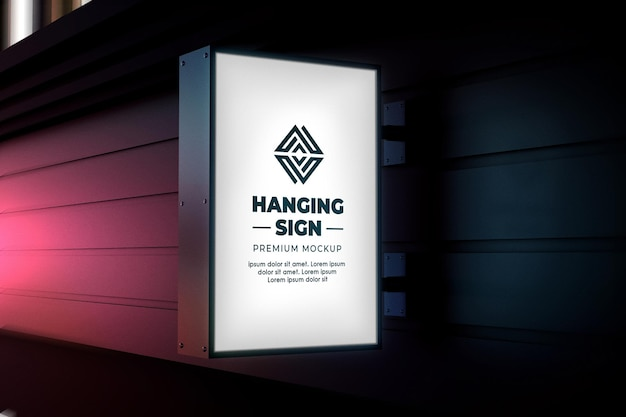 Hanging sign mockup outdoor night glow