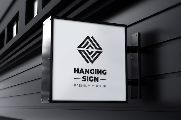 Hanging sign mockup outdoor square neonbox black white