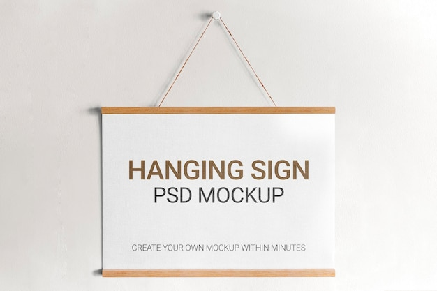 Hanging sign psd mockup on a wall