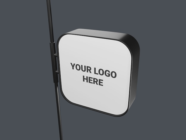 Hanging square signboard mockup isolated