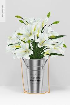 花のモックアップで壁の花瓶をぶら下げ