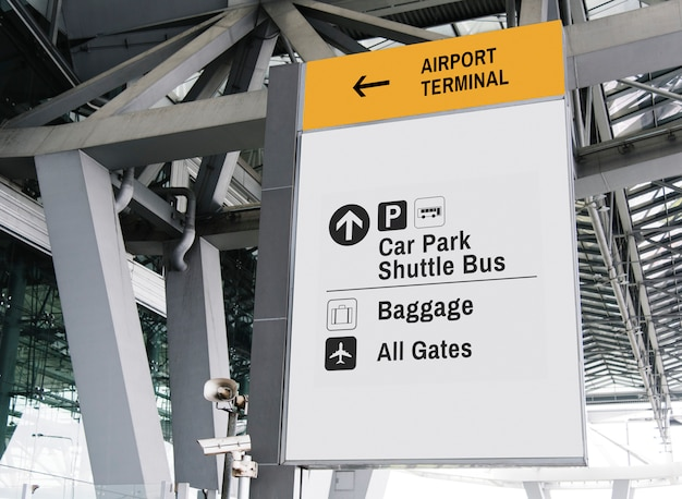Hanging white sign mockup at airport