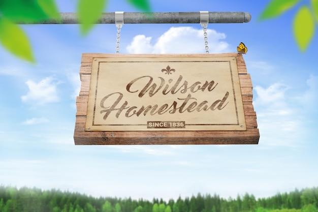 Hanging wooden sign mockup