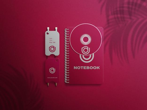 Hangingtagnotebook logo mockup