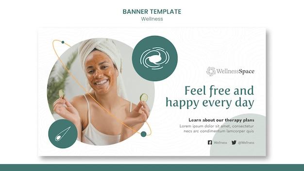 행복과 웰빙 배너 서식 파일 디자인