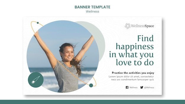 幸福とウェルネスのバナーテンプレートデザイン