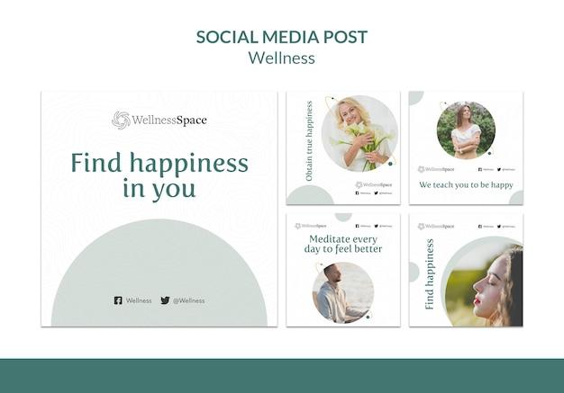 행복과 웰빙 소셜 미디어 게시물 템플릿 디자인
