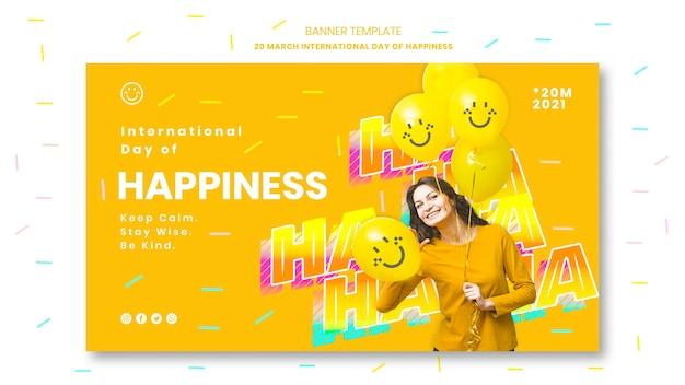 Modello di banner di giorno di felicità