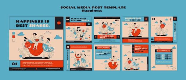 행복 웹 세미나 소셜 미디어 게시물