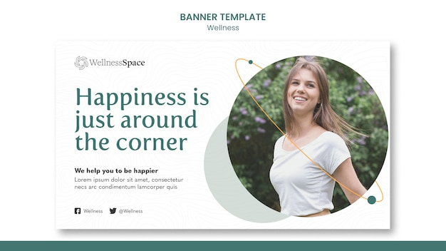 Happiness and wellness banner template design
