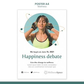 Happiness and wellness poster template design