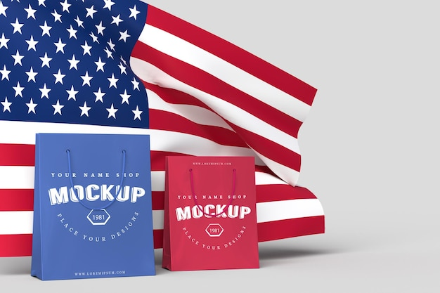 Happy 4th of july usa independence day and shopping bag mockup