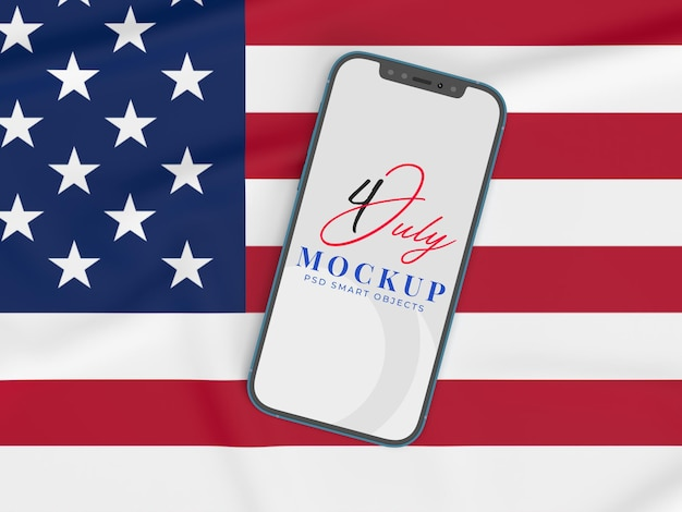 Happy 4th of july usa independence day and smartphone mockup