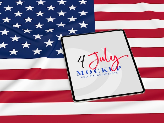 Happy 4th of july usa independence day and tablet mockup