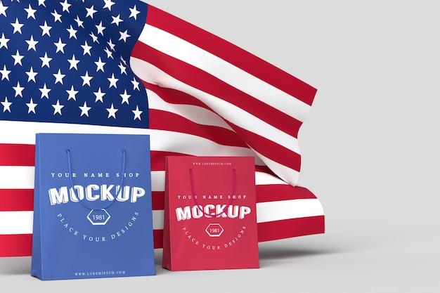 7 월 4 일 미국 독립 기념일 및 쇼핑백 모형