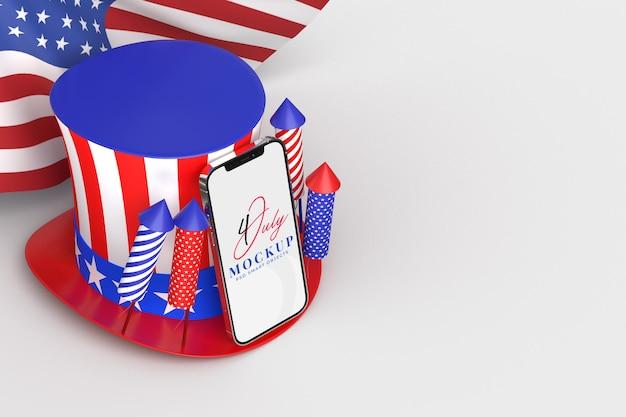 7 월 미국 독립 기념일 및 장식 및 미국 국기가있는 스마트 폰 모형의 행복한 4 일