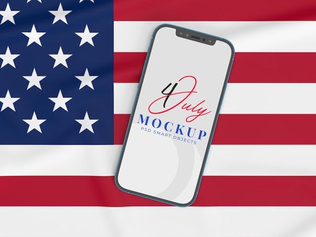 7 월 4 일 미국 독립 기념일 및 스마트 폰 모형