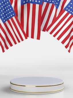 장식 및 미국 국기와 함께 7 월 미국 독립 기념일의 행복한 4