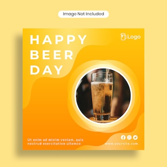Happy beer day social media post template