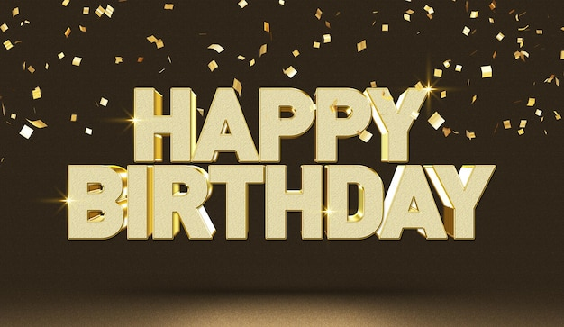 Happy birthday 3d text style effect mockup template
