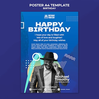 Happy birthday a4 poster template