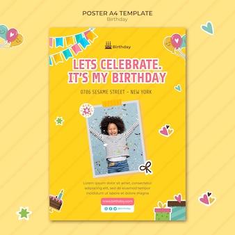 Happy birthday a4 poster Free Psd