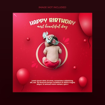 С днем рождения, малышка, романтический баннер с розовыми и красными воздушными шарами premium psd