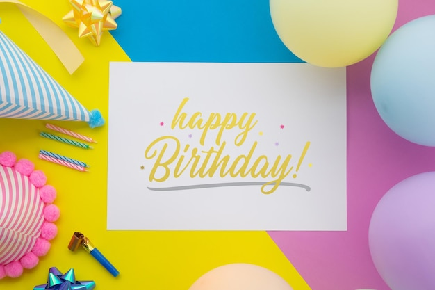 Happy birthday background, flat lay party decoration with flyer invitation card mockup template.