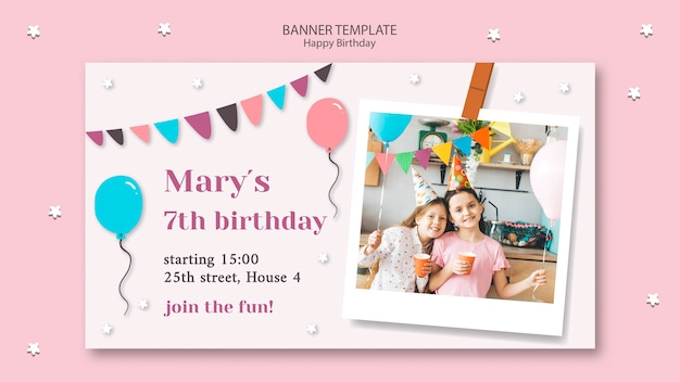 Happy birthday banner template with garland and balloons