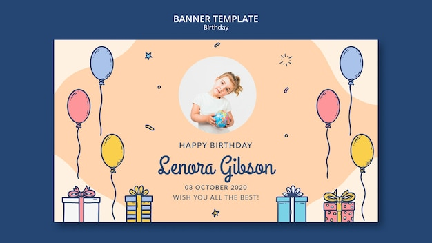 Happy birthday banner template with photo