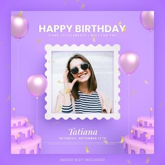 モックアップと紫のinstagramソーシャルメディア投稿テンプレートの誕生日ケーキの招待カード