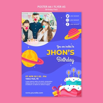 Happy birthday concept flyer template