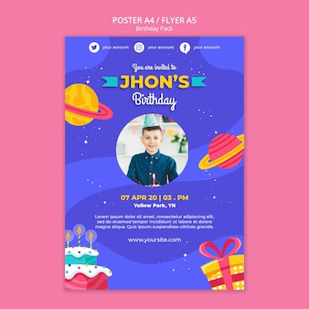 Happy birthday concept poster template