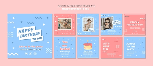 Happy birthday concept social media template