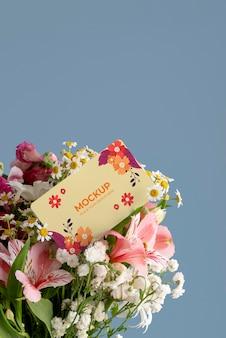 Happy birthday flowers with card mockup